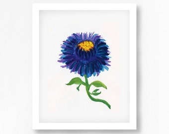 Blue Flower Print, Watercolour Flower Art Print, Watercolor Flower Print, Flower Wall Decor, Floral Decor, Floral Wall Art, Printable Flower