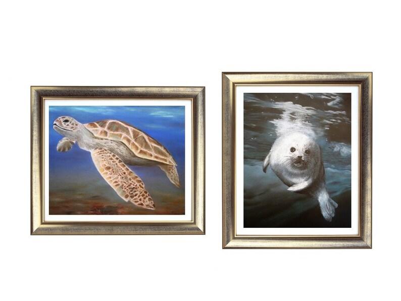 8b119192497 Conjunto de impresión Animal de mar, dibujos de animales de mar, regalos  animales de mar, tortuga dibujo, dibujo del sello, obras de arte para la ...
