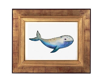 Whale Watercolour Print, Original Watercolour Painting, Abstract Whale Print, Original Abstract Artwork, Blue Whale Artwork Print, Whale Art