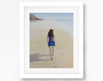 Abstract Beach Print, Girl on a Beach, Beach Walk Painting, Beach Decor, Coastal Decor, Beach Wall Art, Walking on Beach Print, Coastal Art