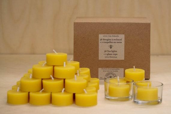 Bulk Beeswax tea lights, all natural, 100% pure