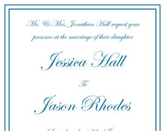 Simple Wedding Invitation, RSVP postcard, Set of 25
