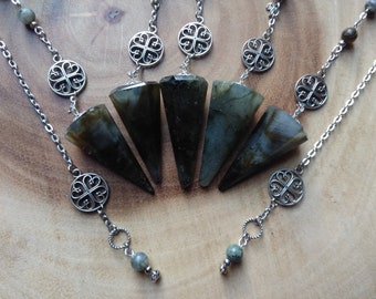 THREE EYE Healing Gemstone Crystal Point Pendulum Divination Dowsing Scrying Labradorite Birthday gift diwali gift