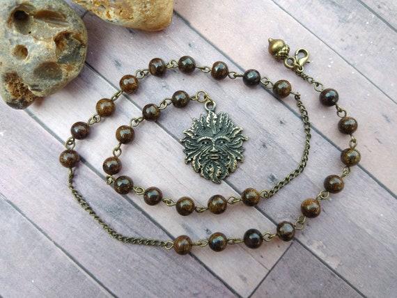 Bronzite Green man pagan prayer beads necklace - earth element witches  ladder, bronze meditation beads