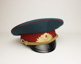 dd9d28d640dbc USSR army Officer s military visor cap Soviet hat. 1970 s yy. 100%  Original. Not new made. Size 57