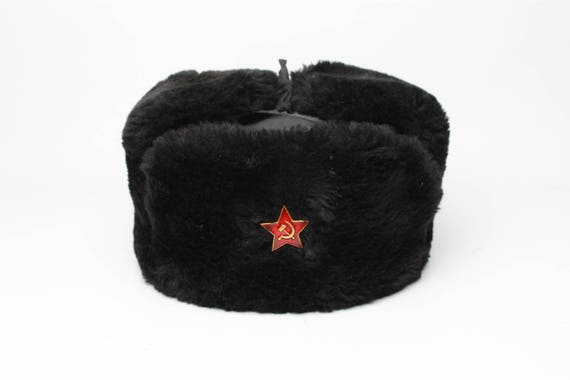 New Sheepskin Fur and Leather Soviet and Russian Navy Black Army Hat Ushanka
