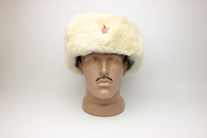 4616a75f6 Soviet Russian White Fur Ushanka military Officer RKKA earflaps USSR hat