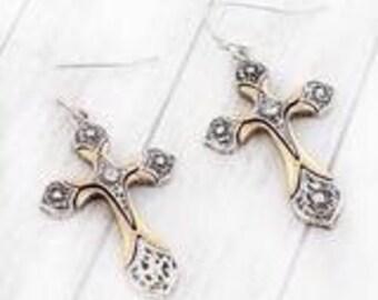 Two Toned Scroll Cross