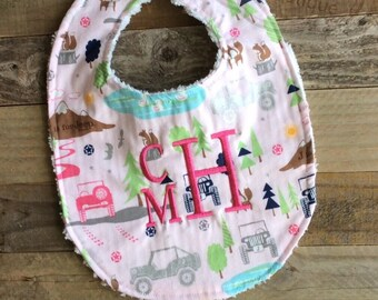 Personalized Baby Bib - Chenille Baby Girl Bib- J is for JEEP Adventure Awaits - Monogrammed Baby