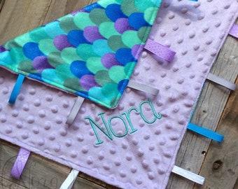 Personalized Baby Lovey - Tag Blanket - Ribbon Lovey - Blankie- Sensory Ribbon Lovey- Owl- Mermaid