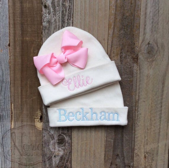 6def9d8b885 Personalized Newborn Beanie Hat Baby Girl Bow Hat