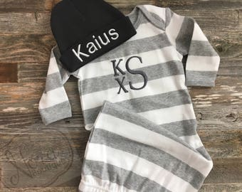 Monogram Baby Gown- Striped Baby Gown- Baby Boy Take Home Outfit