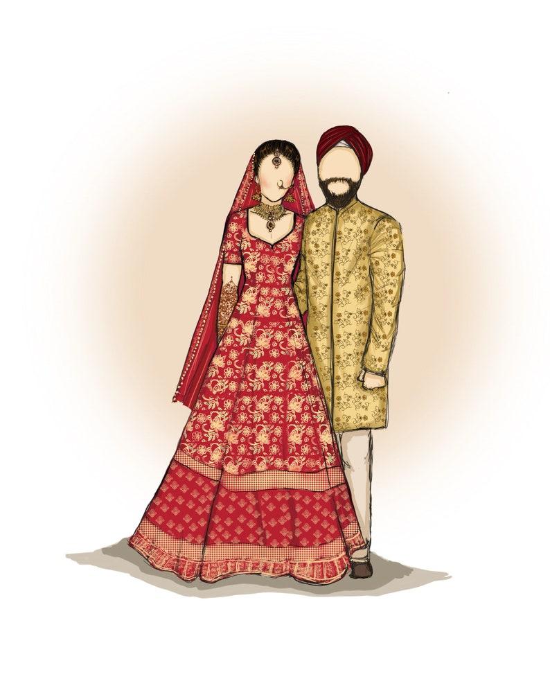 Custom Wedding fashion illustration portrait indian wedding image 0
