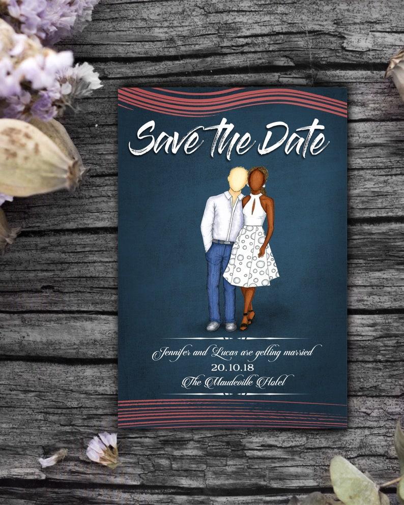 Custom fashion illustration save the date wedding invitation image 0