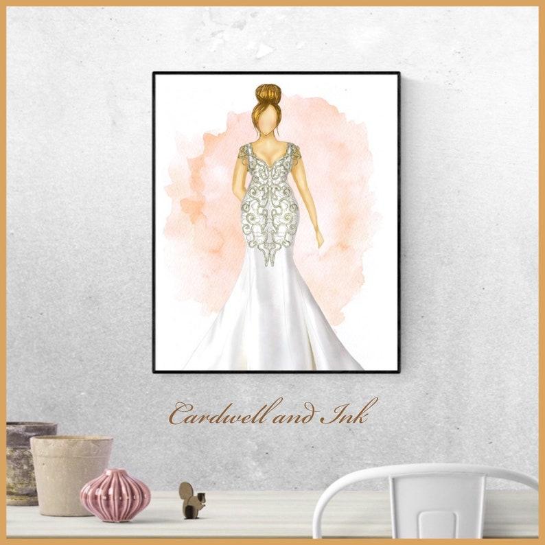 Custom fashion illustration bridal portrait wedding dress image 0