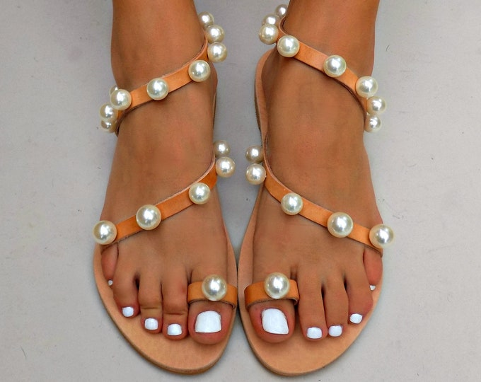 sandals with pearls, Boho Wedding Sandals, Greek Leather Sandals, Luxury Bridal Sandals, Pearl Sandals, Boho Sandals,  Handmade Sandals