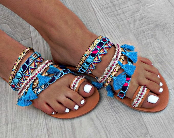 "Boho sandals, Handmade Shoes, Greek Leather Sandals, Gypsy Sandals, Women Sandals, Boho Flats, ""Morrocan Blue""  sandals , Ethnic sandals,"