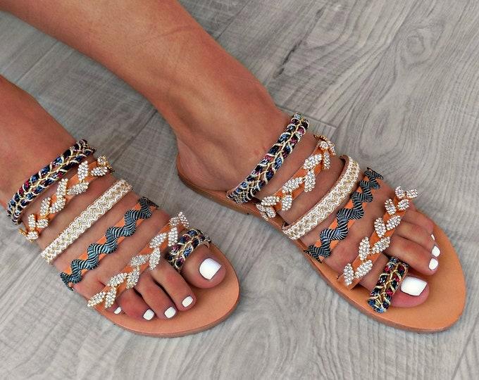 "Handmade Leather Sandals, Women Sandals, Boho Sandals, Swarovski Sandals, Strappy Sandals, Gladiator Sandals ""olive leaves"""