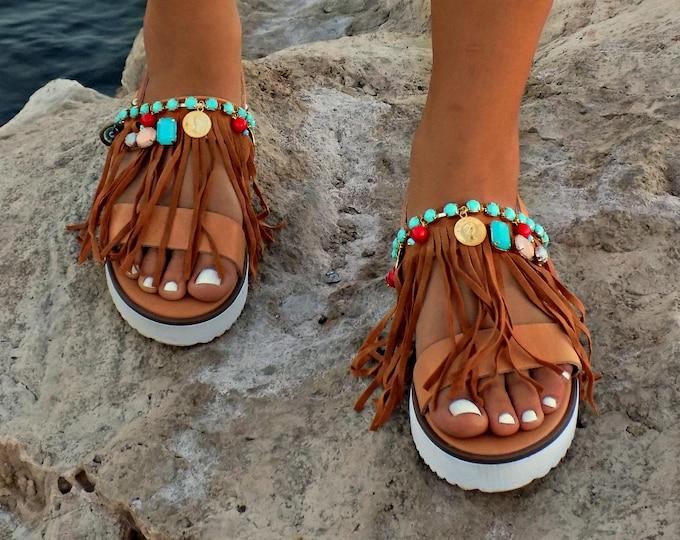 "Boho Flats ""Layla"", Hipplie sandals, Greek Leather Sandals,  Handmade Sandals, Pom Pom Sandals, Boho sandals, Gipsy Sandals"