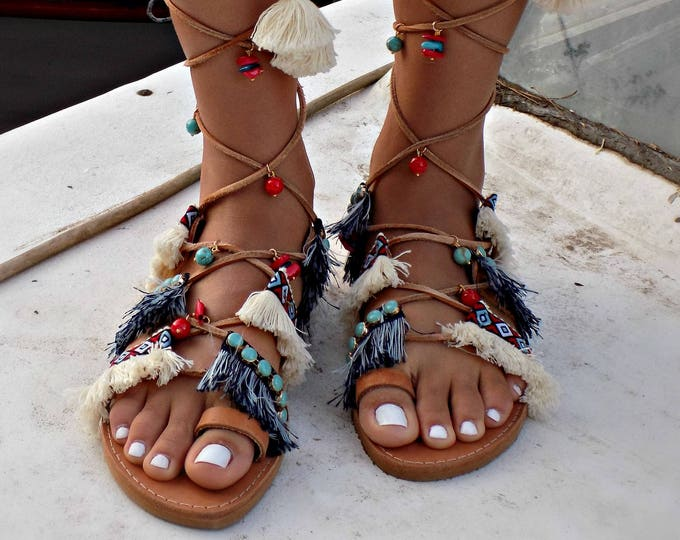 "Gladiator Sandals, Greek Leather Sandals, Handmade Sandals, Pom Pom Sandals, Boho Shoes, Genuine leather sandals, Boho Sandals  ""Delos"""