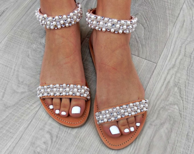 sandals with pearls, Wedding Sandals, Leather sandals, Handcrafted Greek Sandals, Genuine leather sandals,  Bridal shoes, Pearl Sandals