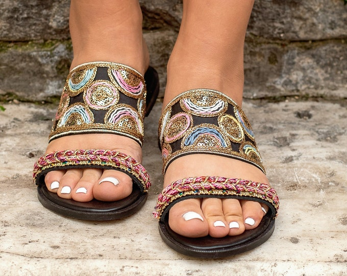 "Handmade leather sandals, mojari flat jutti, Made to order, ""Maharanee""sandals, Slingback Ethnic, decorated sandals, kolhapuri india sandals"