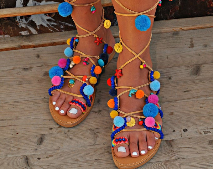 "Women Sandals, Handmade Sandals, Gladiator Sandals, Greek Leather Sandals, Boho Sandal, Pom Pom Sandal, Tie Up Gladiator Sandals ""Amfitriti"""