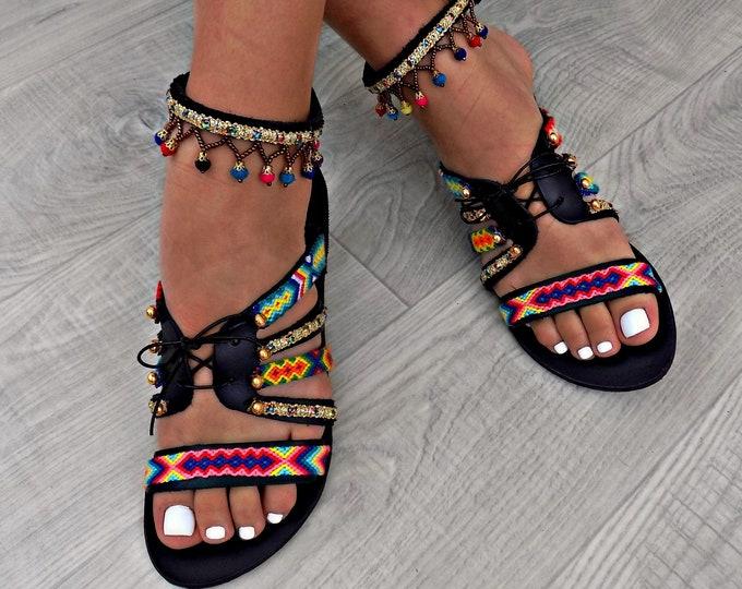 "Boho sandals, Handmade Leather Sandals, Greek Leather Sandals, Pom Pom Sandals, Gipsy Sandals, Hipplie Sandals ""Black Hawaiian Tropic"""