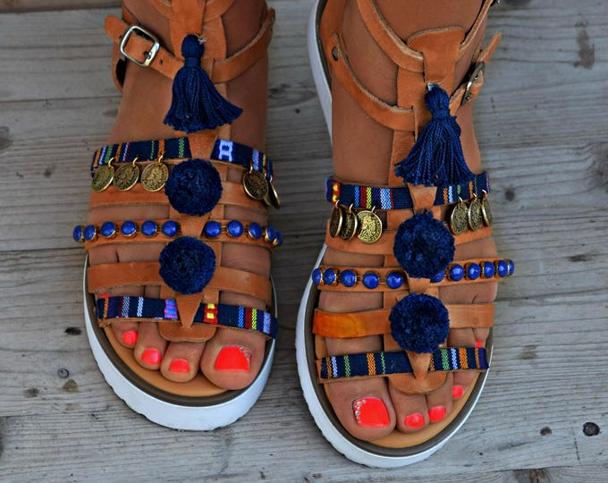 "Boho Flats, Handmade Sandals, Boho Sandal, Greek Leather Sandals, Pom Pom Sandals, Hippie sandals, Festival Sandals, Women sandals ""Sparti"""