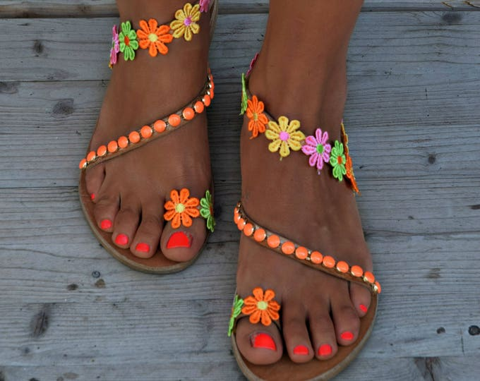 "Women Sandals, Greek Leather Sandals, Boho shoes, Flower Sandals, Boho Sandals, Hippie Sandals, Handmade Sandals ""Colour Margaritas"""