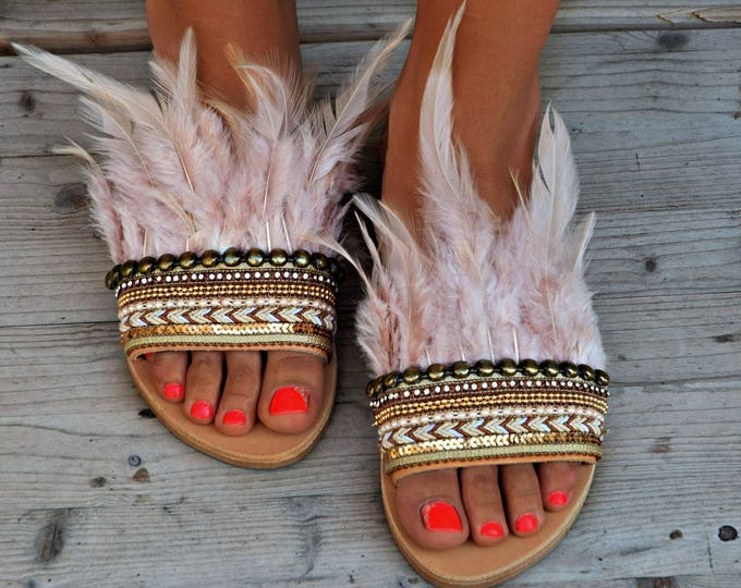 "Greek Leather Sandals, Luxury Sandals, Boho sandals, Boho Flats, Decorated Sandals,  wedding flats, golden sandals ""Mykonos glamour"""