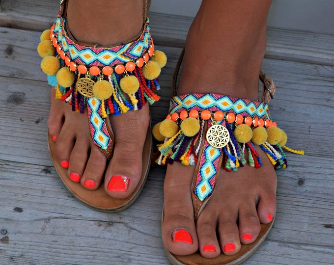 "Handmade Sandals, Boho Sandals, Greek Leather Sandals, Pom Pom Sandal, Hippie sandals, Festival Sandals, Women sandals, Boho Flats ""Mayra"""