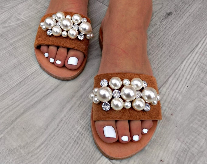 "Wedding Sandals, Women Sandals, Bridal Sandals, ""Vogue"" Pearl  Sandals, Greek Leather Sandals, Swarovski Sandals, leather shoes, Flat Sandal"