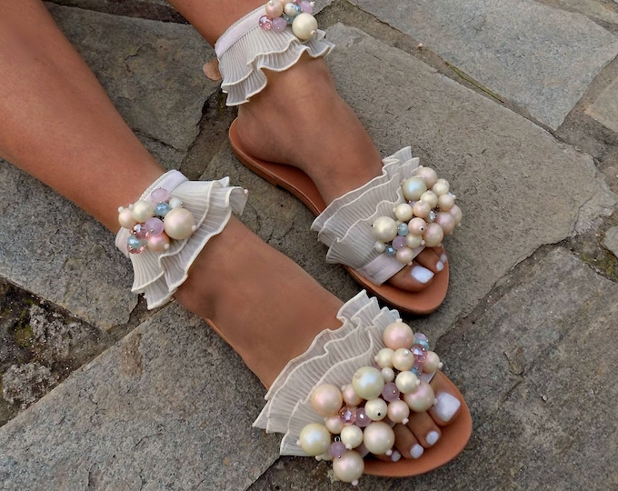 "Flat Wedding Sandals, Greek Leather Sandals,Bridal Sandals, Beach wedding sandals, Handmade Sandals, ""Cufeto"" Anklet Sandals"