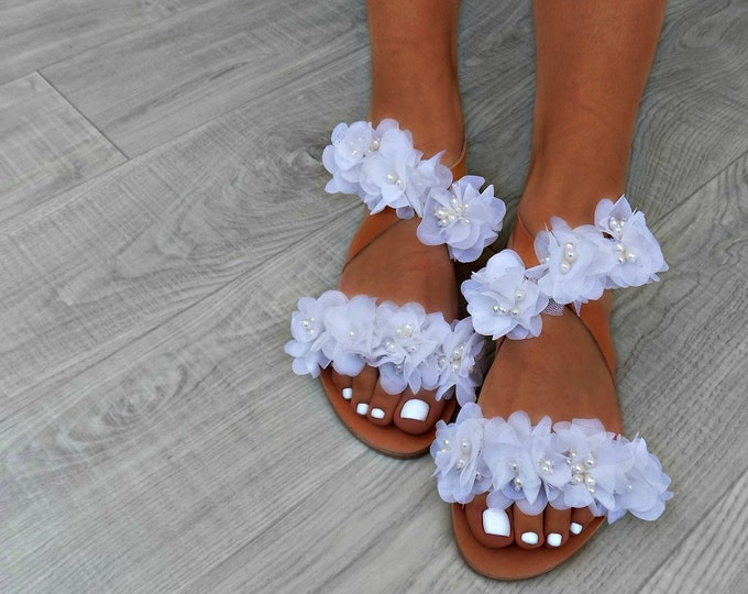 "Wedding Sandals, beach wedding bridal sandals, flower sandals, romantic leather sandals, white sandals, ""pearl jardins"" wedding sandals"
