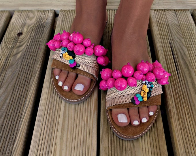 "Greek Leather Sandals, handmade sandals ""tropical bird"", Boho sandals, leather sandals, slides, Beaded sandals, luxury sandal, flat sandals"