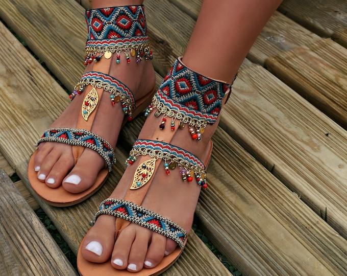 Boho Sandals, Sansa Sandals, Handmade leather sandals, Greek leather sandals, Bohemian sandals, Gladiator Sandal, ethnic sandal, flat sandal