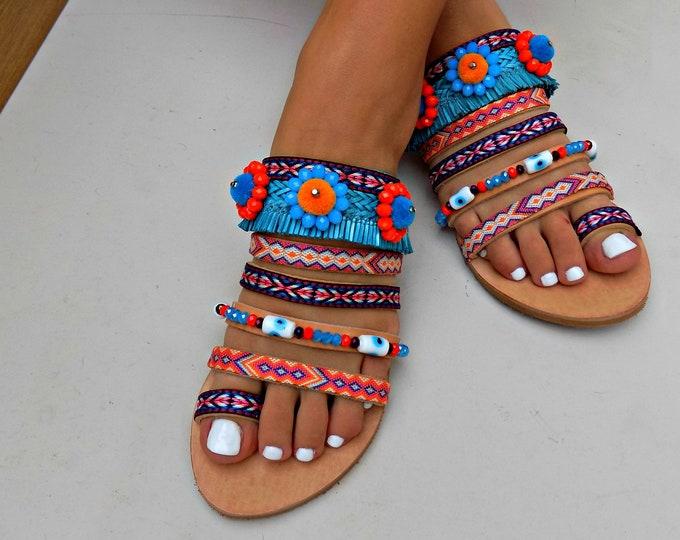Handmade Sandals, Greek Leather Sandals, Fringes Sandals, Flat Sandals, Pom pom Sandals, Colorful Sandals, Boho Sandals, Slides