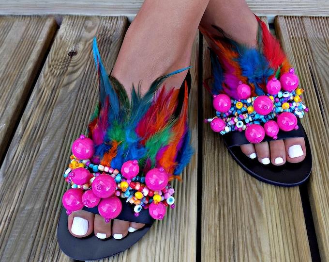 "Greek Leather Sandals, Feather sandals ""Madagascar"", Boho sandals, Bohemian sandals, slides, handmade sandals, Indian sandals, luxury sandal"