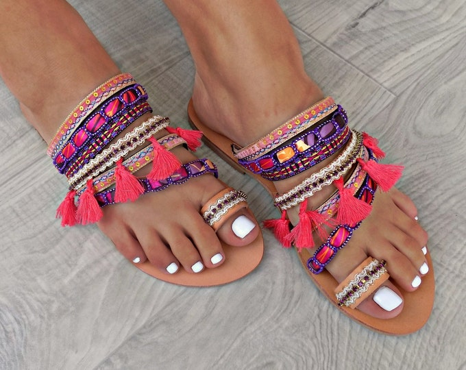 "Boho sandals, Handmade Shoes, Greek Leather Sandals, Gypsy Sandals, Women Sandals, Boho Flats, ""Morrocan Purple""  sandals , Ethnic sandals,"