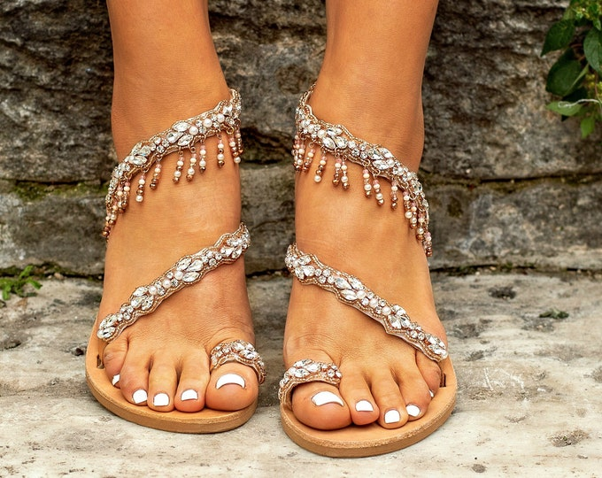 "Wedding Sandals, Greek Leather Sandals, bohemian Bridal Sandals, Crystal Beaded Sandals, Luxurious Sandal, Boho Sandals, Sandals ""Rose Gold"""