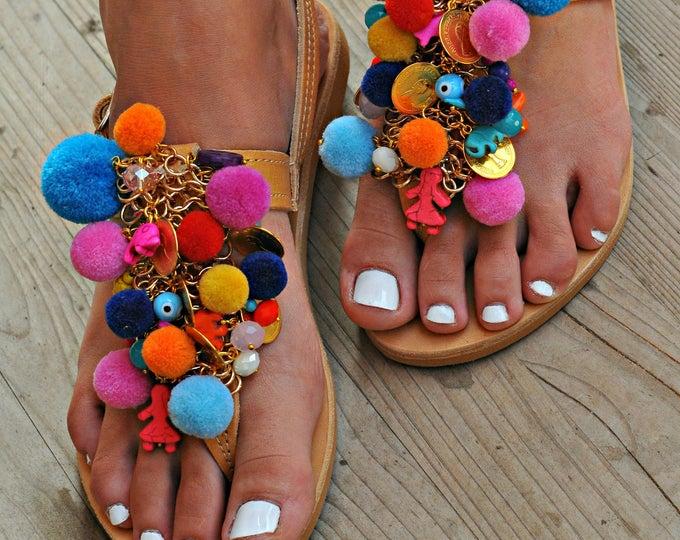 "Handmade Sandals, Boho Sandals, Greek Leather Sandals, Pom Pom Sandal, Decorated Sandals, Hippie sandals, Festival Sandals ""Colour  Passion"""