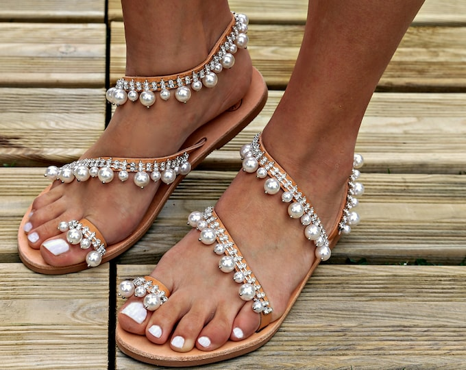 "Greek Leather Sandals, Pearl Sandals, Handmade Sandals, Wedding Sandals, Wedding Shoes, Wedding flats,  Luxury Sandals Crystals, ""Pearl"""