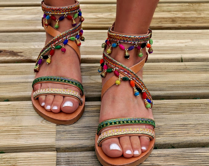 "Handmade leather sandals, Greek leather sandals, Boho sandals, Made to order, ""Anish""sandals"
