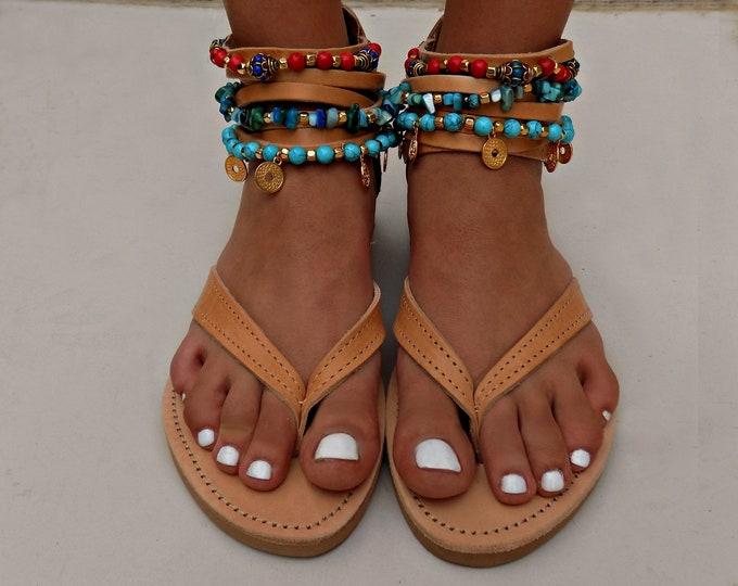 """Boho Sandals, Handmade leather sandals,""""Artemis"""" Sandals, Greek leather sandals, gypsy sandals, festival sandals,  anklets, Made to order"""