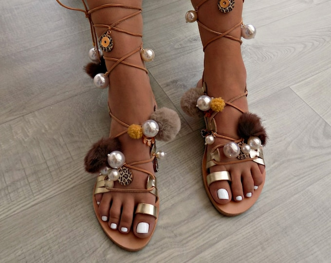 "Tie Up Gladiator Sandals, Pom Pom sandals with pearls, Leather lace up sandals, Leopard Sandals, Boho Sandal,""Leopard chic"""