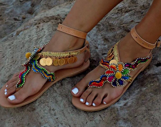 "Handmade Sandals, Greek Leather Sandals, Boho Sandals,  Gypsy Sandals, Women Sandals,  Luxury Sandals, Hippie Sandals ""Cleopatra"""