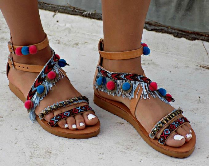 """Gladiator Sandals, Tie Up Gladiator Sandals, Handmade Sandals, Greek Leather Sandals, Boho Sandal, Pom Pom Sandal """"Peacock"""""""