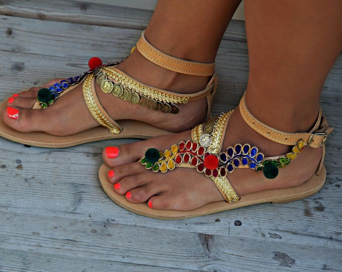 "Women Sandals, Handmade Sandals, Greek Leather Sandals, Boho Sandals, Gypsy Sandals, Luxury Sandals, Hippie Sandals ""Gold Beauty"""