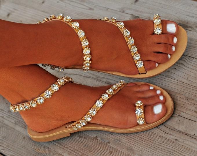 """Wedding Sandals, Handmade Sandals, Women Sandals, Greek Leather Sandals, Swarovski Sandals, Bridal Sandals, Luxury Sandals """"Siren"""""""